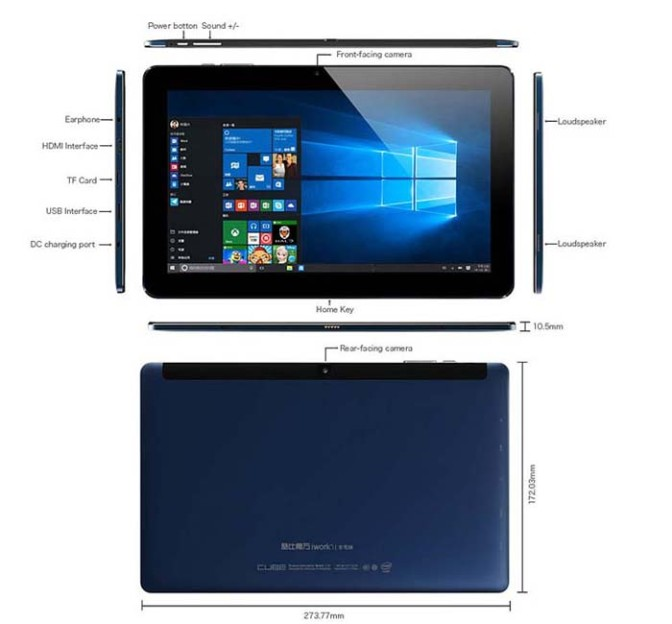 Windows 10 Cube iWork 11 64GB  10.6 Touch Screen Tablet